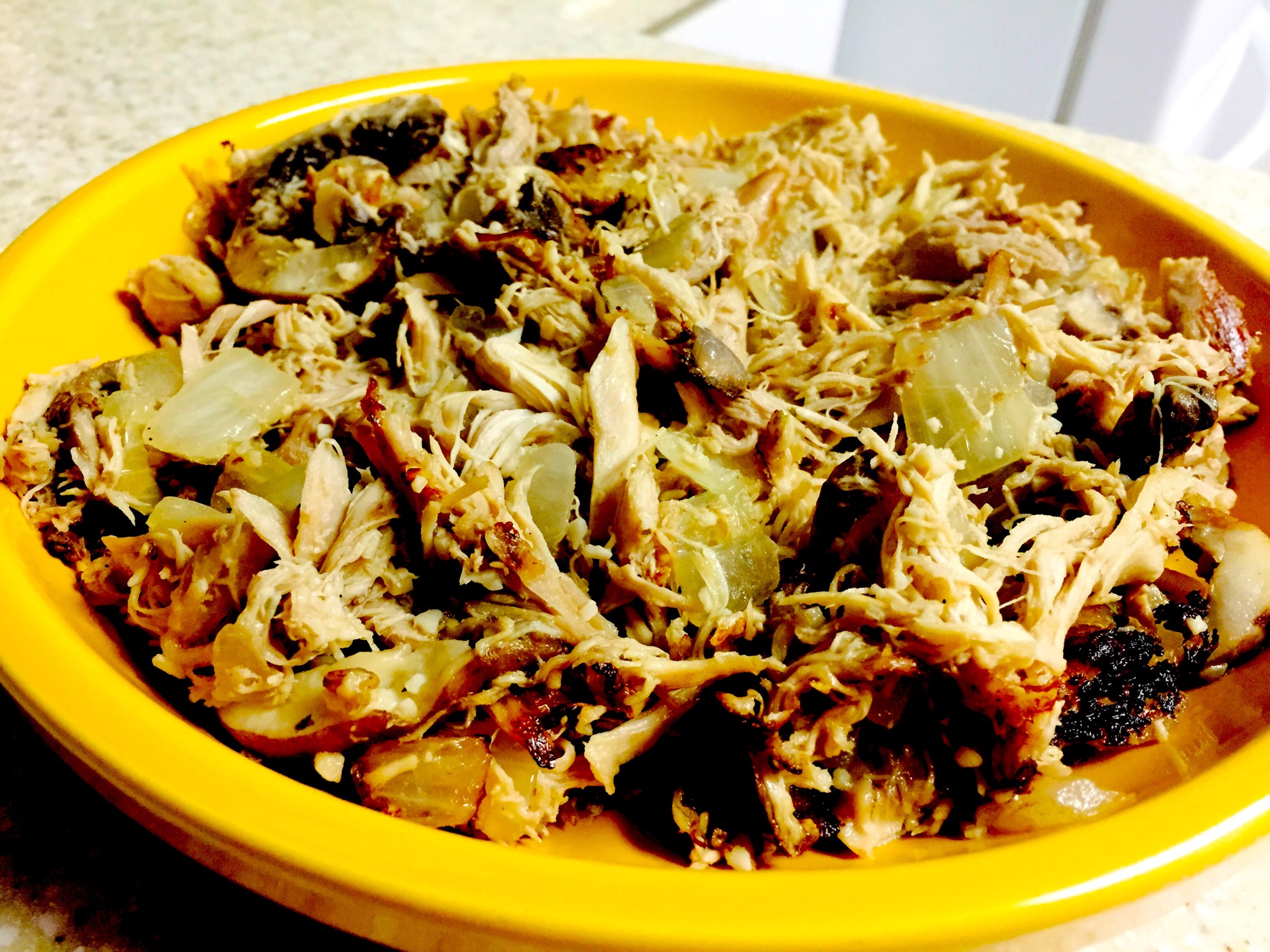 Roasted chicken with mushrooms and caramelized onions