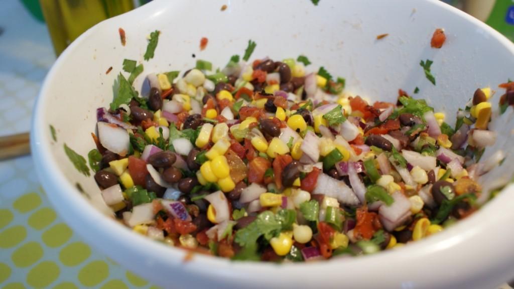 Ingredients mixed to make Black Bean Corn Salsa