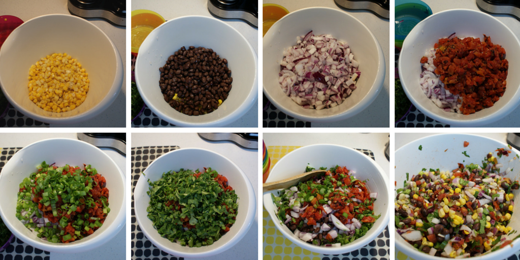 Black Bean Corn Salsa ingredients and mixing